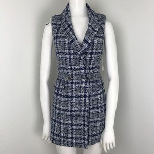 Zara Blue Plaid Tweed Mini Vest Dress Top